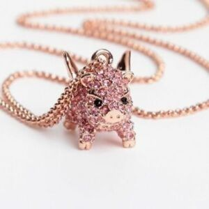 NWT Kate Spade Pave Pig Mini Pendant Necklace